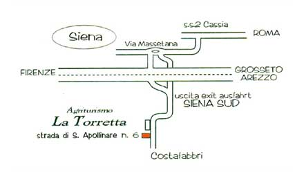 Siena, Toscana (Sienna, Tuscany). How arrive to farmhouse La Torretta, the farm holiday near Siena