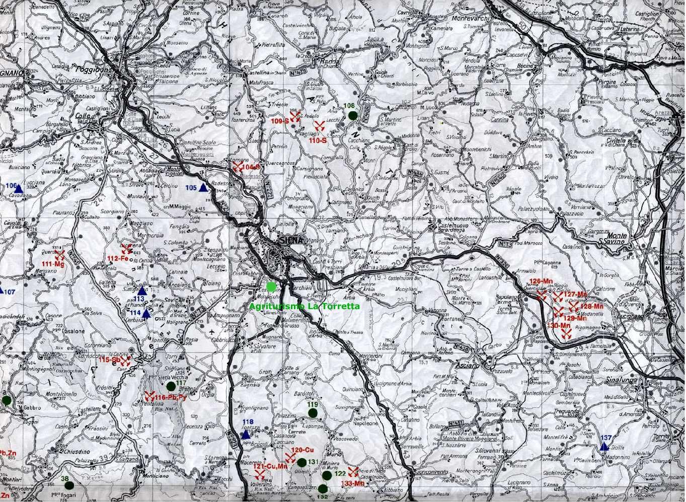 Cartina Toscana Provincia Di Siena.Miniere Minerali E Parchi Minerari In Toscana Siena Agriturismo La Torretta